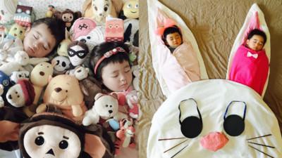媽咪擺拍曬小孩睡姿 孩童時怎麼睡都能香甜甜