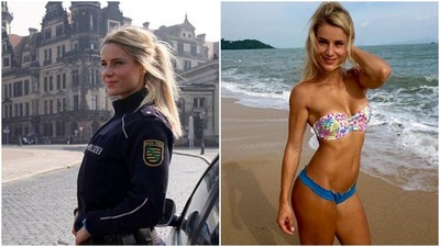 德國超辣女警Kolesza,好想被她用胸肌鎖喉❤