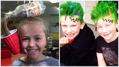 兒童界飛迅大賽「瘋狂頭髮日」,苦主是父母吧