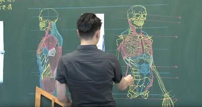 台男手繪「人體骨骼」 上課板書曝光