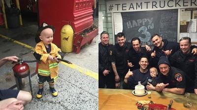 圓3歲癌症男童一個夢!NY消防局任命他為「榮譽隊員」