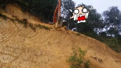 崖上的挖土機!想下去你只有一條路走(哭)