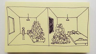 「便利貼」上人生道理~床上堆滿雜物?放到地上就行了