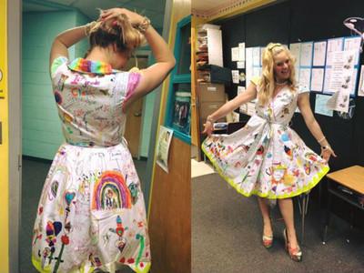 白裙塗鴉「彩色夢想」,學生送給老師最暖的感謝禮