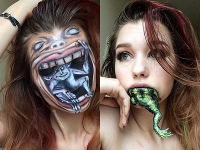 嘴好大!口吞青蛙、地精!這女孩「假妝」功力不得了
