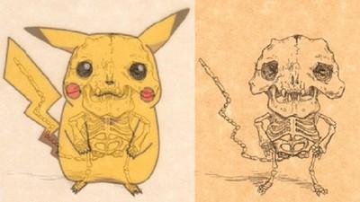 卡通人物「骨骼透試圖」超獵奇,皮卡丘根本妖怪吧