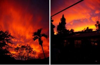 台東出現火燒雲 天際線陷入火海