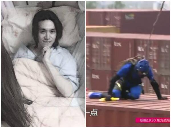 陳楚河當時受傷,除了患部嚴重受損,還有後遺症「大腿萎縮」,被迫停工2年。(圖/翻攝自浙江衛視、陳楚河臉書)