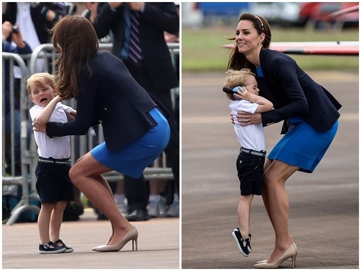 喬治小王子被飛機嚇到淚崩~伸手向媽媽討抱抱