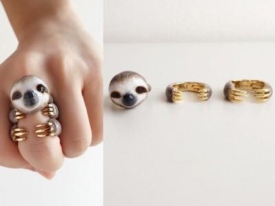 動物三件式戒指最新款!爬上手指的...是...樹...懶...