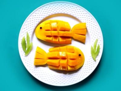 驚!不到1分鐘時間,芒果輕鬆切成超萌金魚!