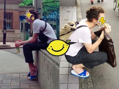 潮!法國男友神駕馭「藍白拖」趴走在日本街頭超吸睛