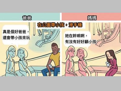 外界刻板印象 帶孩子滑手機:男→好爸爸/女→沒在顧