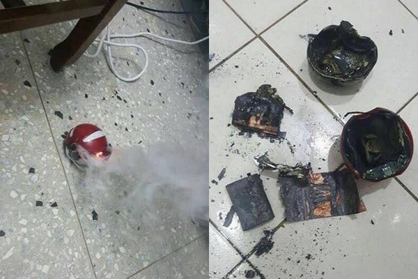 網友購買的「寶貝球」造型行動電源突然自燃。(圖/翻攝自爆料公社粉絲團)