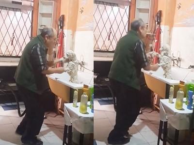 「不想讓牠害怕!」美容師靠這招讓狗狗安心洗香香❤