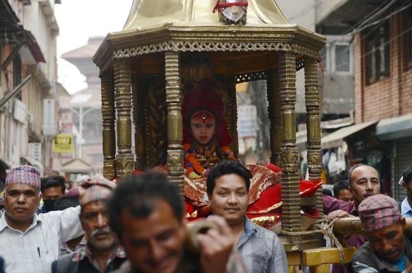 尼泊爾活女神庫瑪麗Kumari。(圖/CFP)