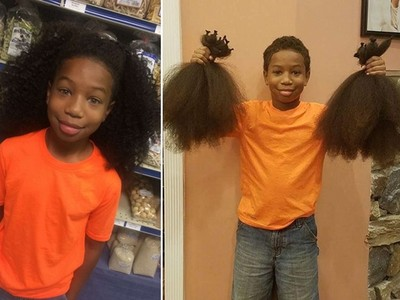 看到同齡女孩化療掉光頭髮,8歲男孩蓄髮送癌症病童