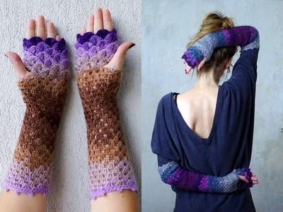 把波浪握在手中,漸層毛線手套讓冬天保暖也清爽