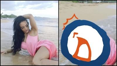 海邊拍攝泳裝照,蜜腿挑逗最後…囧遭水神無情KO