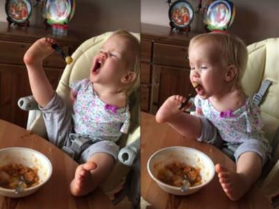 一口飯就要18秒,無手女童不放棄:我就是要自己吃