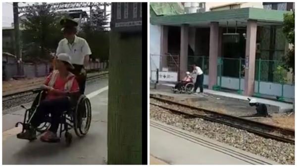3花壇副站長助輪椅婦進出月台。(圖/翻攝自爆料公社)