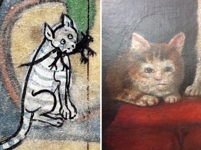 來看中世紀人怎麼畫貓咪!我覺得比較像外星人..
