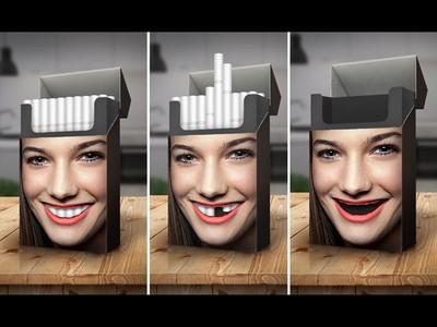 十張驚悚戒菸廣告,每抽一支菸就蛀一顆牙lol
