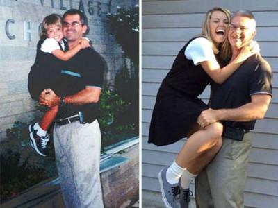 「上學第一天到畢業」時光對比圖!爸爸你還能將我抱在身上嗎?