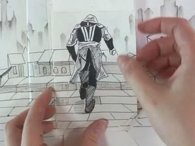 「畫→拆→動」刺客跑酷呈現眼前,藝術家用紙打開新世界