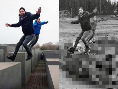 爬大屠殺紀念碑「做瑜珈」 猶太人P圖諷:你在別人的悲傷上自拍