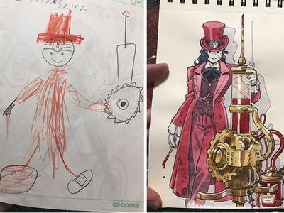 動畫師神改造「兒子的塗鴉」 網友讚嘆想像力:快點動畫化