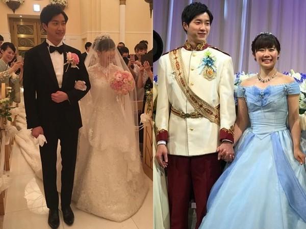 福原愛和江宏傑在日本東京迪士尼樂園的婚禮。(圖/翻攝自賈永婕臉書)