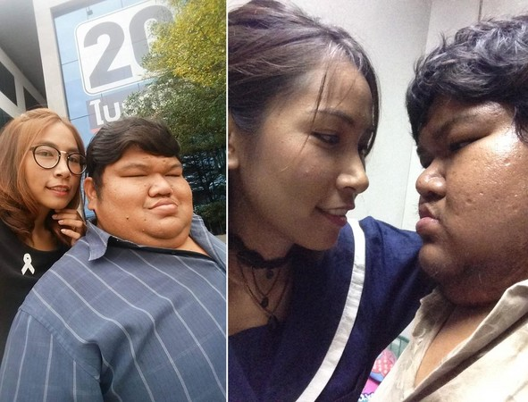 ▲▼泰國44公斤女和120公斤男結婚。(圖/翻攝自Puwadol Kumthai臉書)