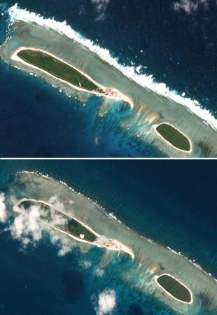 陸在西沙七連嶼的北島建港口外媒...