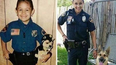 最感動童年→長大對照圖,15年過去她真的成為女警
