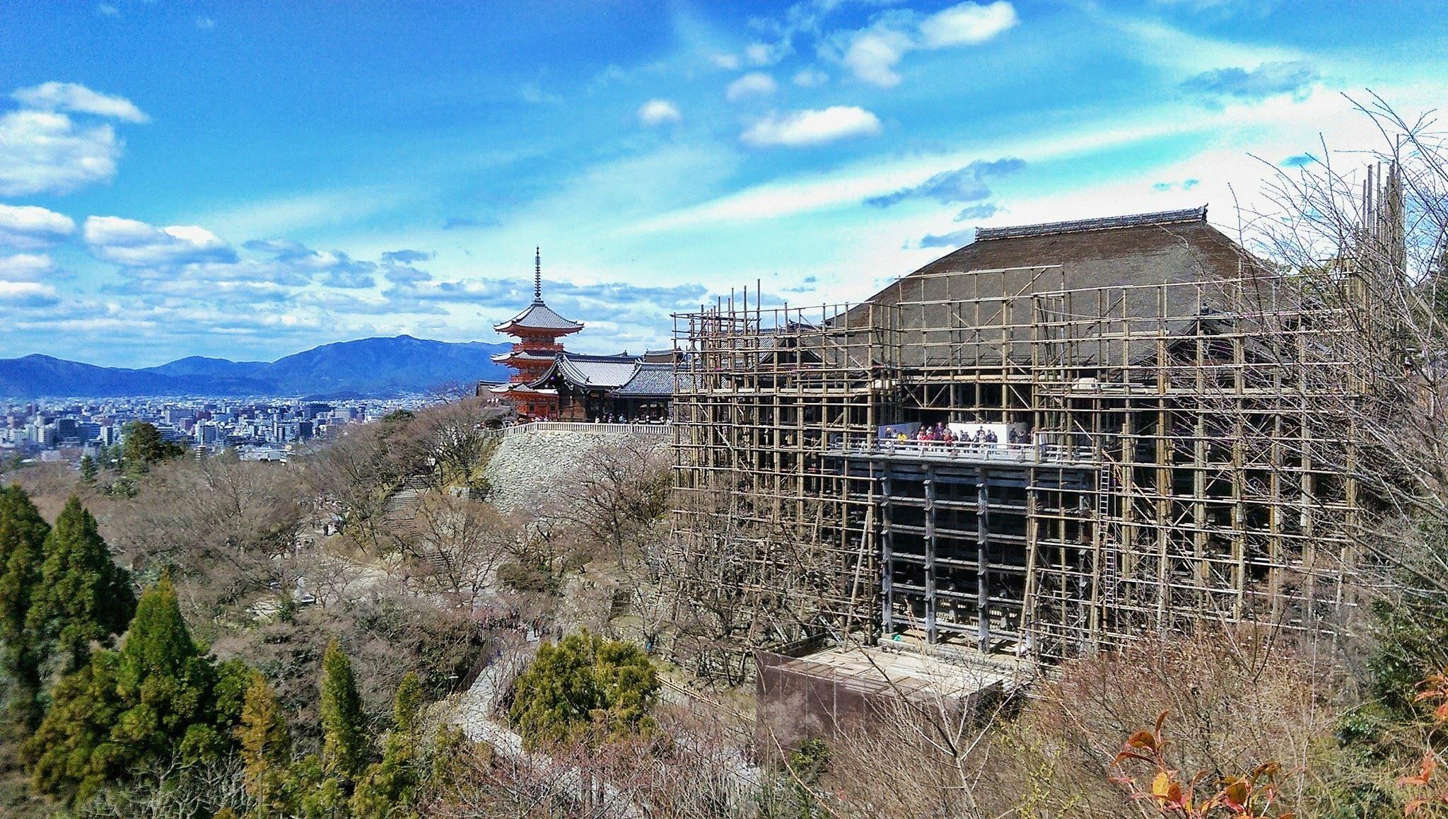 整修中的京都清水寺。(圖/記者陳俊宏攝)