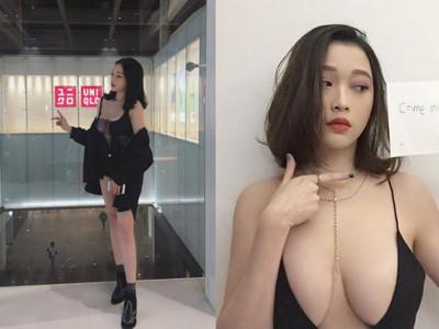 真心好大!女孩在UNIQLO裸露「鏤空八字乳」 嚇得韓國男生說中文