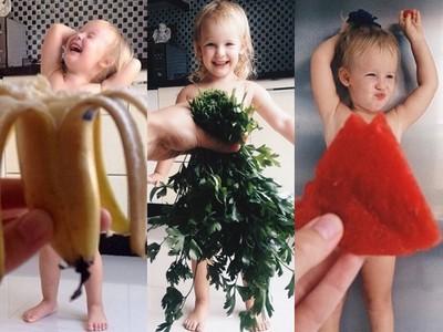 小女孩穿上媽媽做的創意蔬果禮服 鏡頭沒對準差點走光啦~