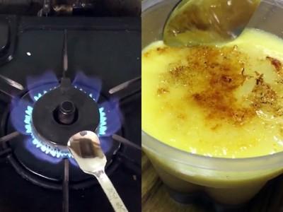 5秒鐘製作「焦糖布丁」升級版! 只需要一支鐵湯匙