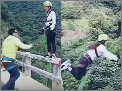 女玩高空彈跳…3~2~1~跳→砰→啪→厄啊→嗚