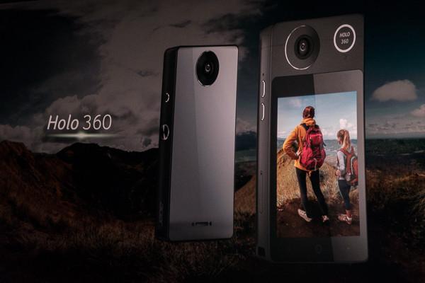 宏�眻壎X首款可打電話的VR相機Helo 360。(圖╱記者莊友直攝)