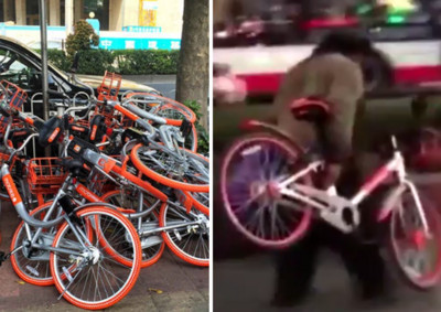流浪漢冒雨整理腳踏車 網:原來身分和素質真的無關
