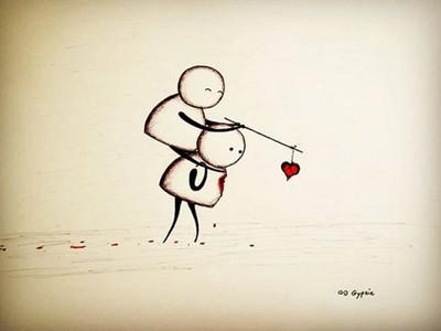 掏心卻只被你當工具 殘酷插畫喚醒愛情暗黑的印記
