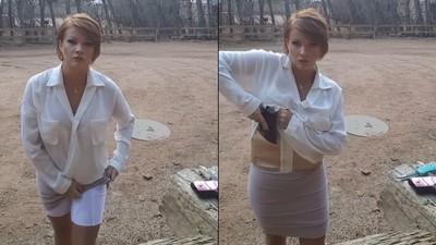穿著短裙的女人能帶多少武器? 答案比你想的還要多
