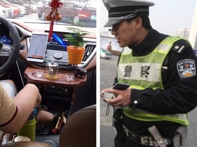 狂!大陸車鑲嵌「移動茶几」,交警臨檢一晚灌了好幾杯熱茶