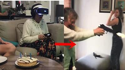 嚇到開真槍!阿嬤玩VR「分不清現實」,電視機慘被射爛