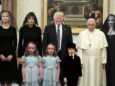 川普拜訪梵諦岡,教宗瞬間「面癱」…合影還被P成孤兒怨