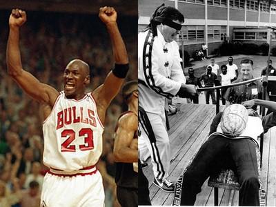籃球神喬丹當年超屁! 頂著西瓜躺平讓人「武士刀盲斬」