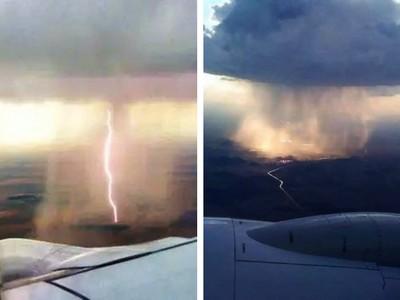 飛機上看暴雨宛如「漂浮瀑布」 乘客親眼見證上天傑作