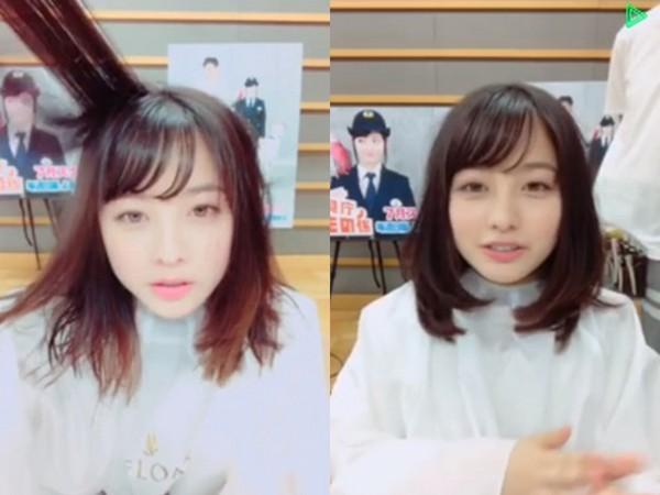 ▲橋本環奈直播中公開剪短髮。(圖/翻攝自橋本環奈推特、《LINELIVE》)